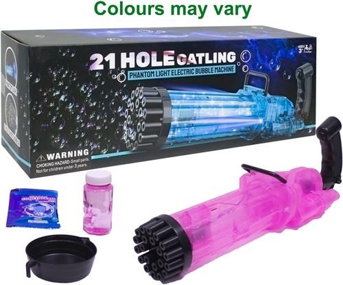 Bellenblaas machine 21HoleGatling B/O met licht assorti 14x38cm